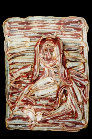 bacon portrait: Bacon Lisa or a rendering of the mona lisa in raw bacon with black background