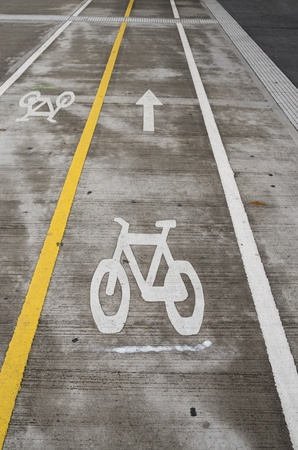 bicycle lane with separate lanes for each direction Stock Photo - 20436497