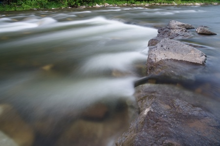 long exposure of a river flowing over rocks with silky blurred water Stock Photo - 20436450
