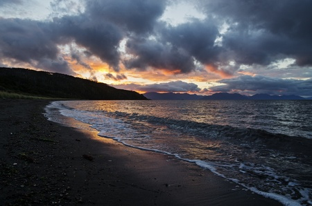 early morning on the Patagonia beach of the Strait of Magellan near Cape Froward Chile Stock Photo - 20436460