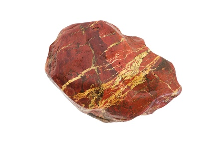 red jasper stone with white veins isolated on white background photo
