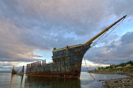 punta arenas: image of the shipwreck of the Lord Lonsdale frigate in Punta Arenas Chile Stock Photo