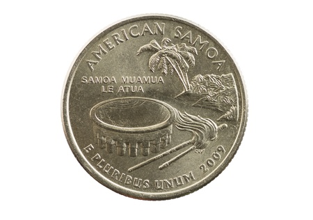 American Samoa commemorative quarter coin isolated on white Stock Photo - 21393046