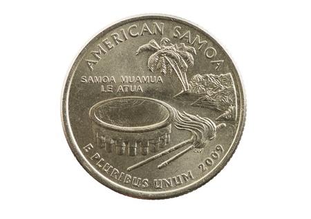pluribus: American Samoa commemorative quarter coin isolated on white Stock Photo