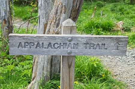 appalachian: wood Appalachian Trail sign with trail behind