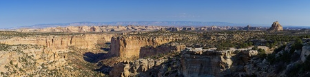 san rafael: panoramic image of Eagle Canyon in the San Rafael Swell from the Ghost Rock rest area Stock Photo