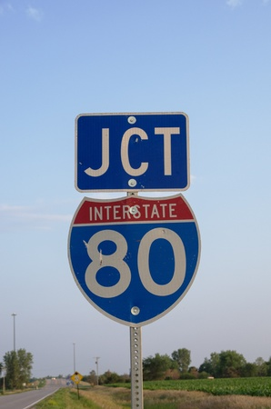Interstate 80 junction sign in rural farmland Stock Photo - 21651957
