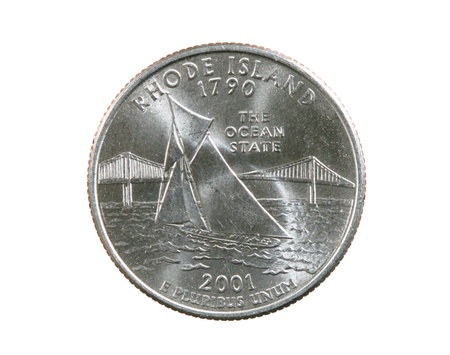 Rhode Island state commemorative quarter coin isolated on white Stock Photo - 21652006