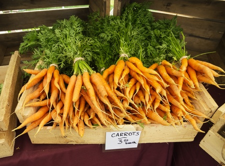 carots: Carrots for sale at a local farmers market