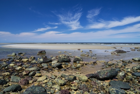 plum island: Plum Island beach from Sandy Point at low tide Stock Photo