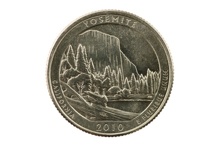 pluribus: Yosemite California commemorative quarter coin isolated on white background
