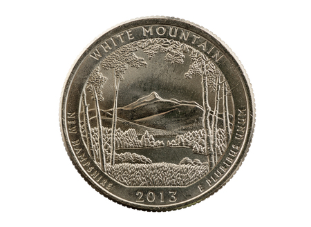 25 cents: White Mountain New Hampshire commemorative quarter coin isolated on white