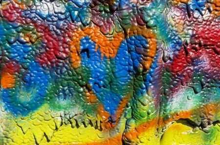 drippy: mottled spray painted with dripping texture and orange heart Stock Photo