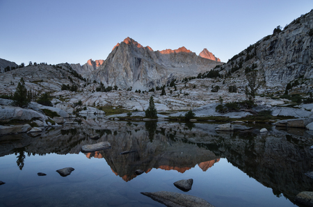 reflection of Picture Peak in the Lake Sabrina Basin near Bishop, California Stock Photo - 24203384
