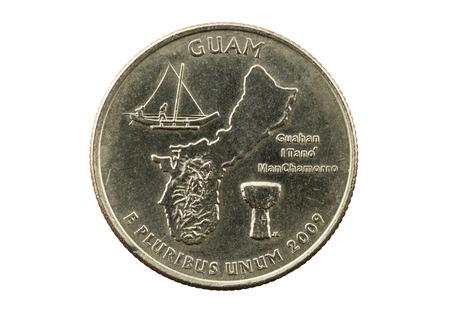 unum: US commemorative Guam quarter coin isolated on white background Stock Photo