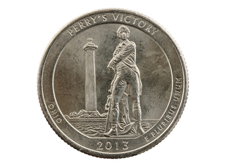 pluribus: Perrys Victory Ohio commemorative quarter coin isolated on white Stock Photo