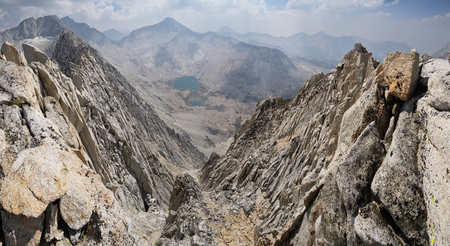 john muir wilderness: Sierra Nevada mountain ridge panorama with mount Mills and Gabb on a smoky day