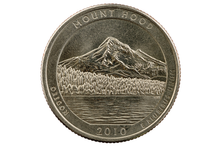 25 cents: Mount Hood Oregon commemorative quarter coin isolated on white