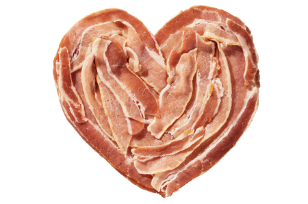 raw bacon heart isolated on a white background Stock Photo - 24317035