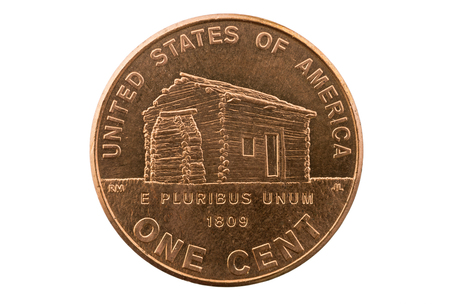 pluribus: Lincoln birth cabin memorial penny one cent coin isolated on white
