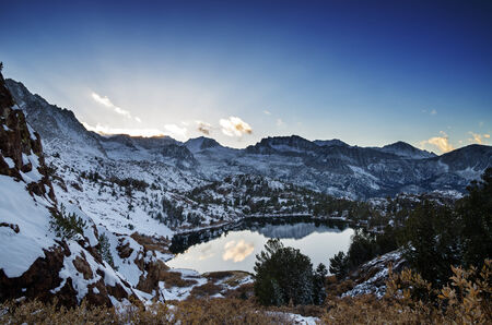 a cold Sierra Nevada mountain evening with the sun setting  Stock Photo - 24317038