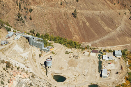 old Pine Creek Mine Mill buildings viewed from above Stock Photo - 24317067