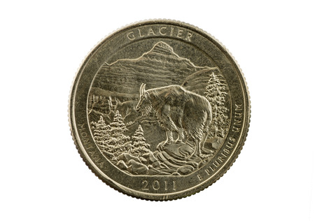 Glacier National Park Montana commemorative quarter coin isolated on white Stock Photo - 24317095