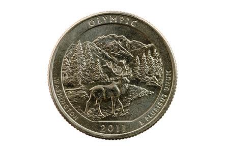 pluribus: Olympic National Park Washington commemorative quarter coin isolated on white
