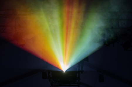 colored stage lights illuminate fog in a rainbow Stock Photo - 24317109