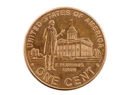 pluribus: Lincoln Indiana Legislature memorial penny coin isolated on white