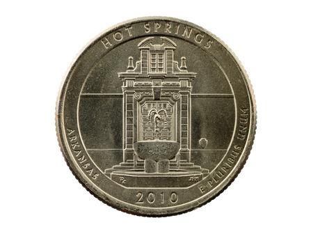 Hot Springs Arkansas commemorative quarter coin isolated on white Stock Photo - 24878872