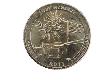 25 cents: Fort McHenry commemorative quarter coin isolated on white
