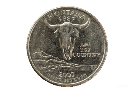 e pluribus unum: Montana state quarter coin isolated on white background