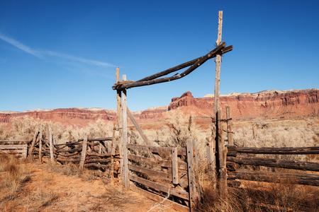 indian creek: old western ranch log gate in Indian Creek Utah
