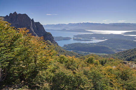 huapi: Refugio Lopez overlook view of lakes and mountains near Bariloche Argentina