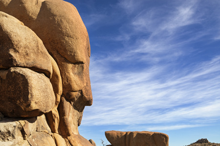 resemblance: rock face that appears to be a human head in Joshua Tree National Park