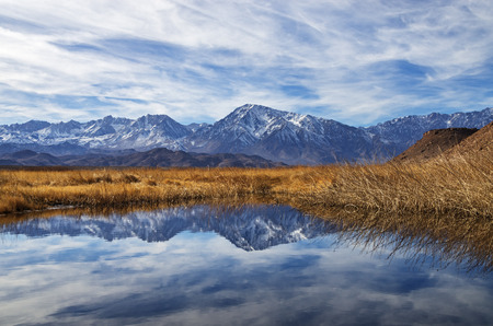 Sierra Mountains reflection in a loop of the Owens River