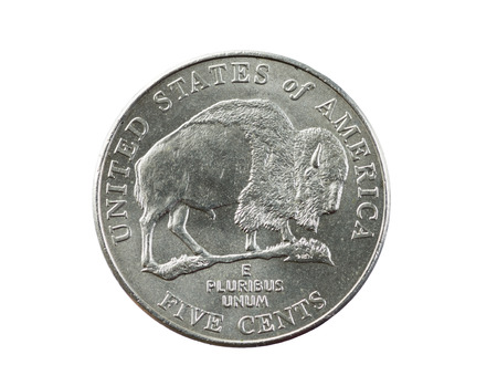 buffalo or bison nickel coin isolated on white photo