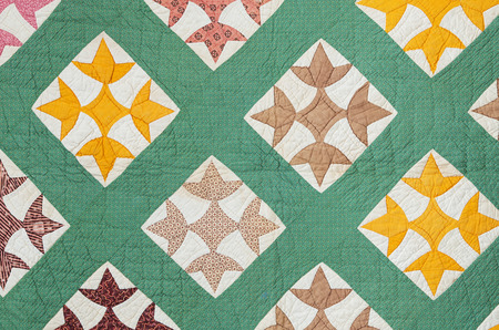 antique hand made quilt from the eastern US made in the late 1800s Stock Photo