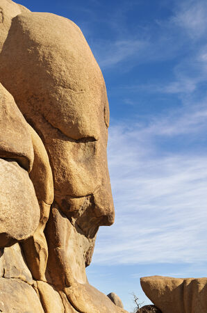 resemblance: face in the rock formation in Joshua Tree National Park California