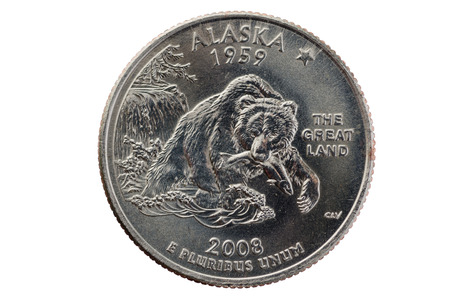 pluribus: Alaska state commemorative quarter coin isolated on white background