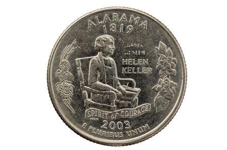 unum: Alabama state commemorative quarter coin isolated on white Stock Photo