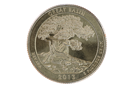 25 cents: great basin commemorative quarter coin isolated on white Stock Photo