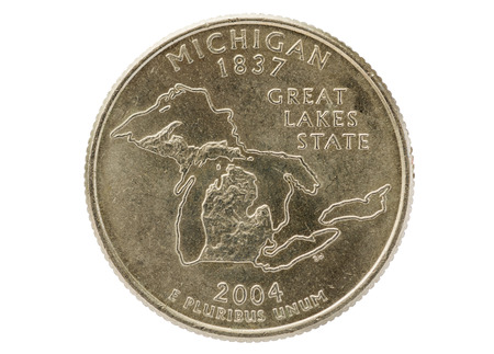 25 cents: Michigan state commemorative quarter coin isolated on white background