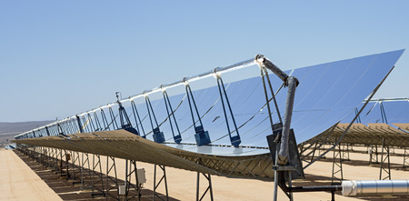 mojave desert: solar electric power plant parabolic mirrors concentrating sunlight Stock Photo