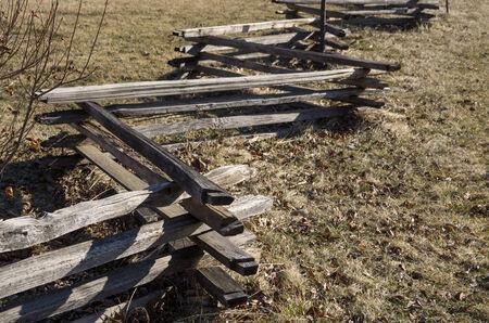 split rail: zig zag split rail fence in a field