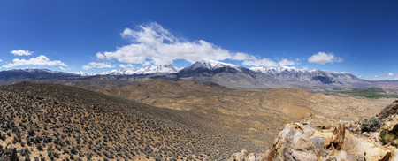 mount tom: panorama of the Sierra Nevada mountains east side from Tungsten Peak near Bishop California