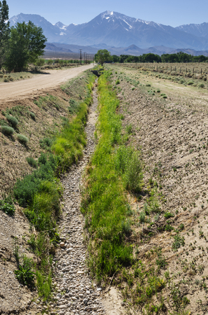 empty dry irrigation ditch in the Owens Valley of California near Bishop