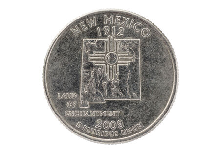 pluribus: New Mexico commemorative state quarter coin isolated on white
