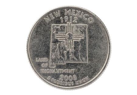 commemorative: New Mexico commemorative state quarter coin isolated on white